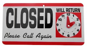 Image = Sign = Closed Please Call Again